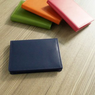 Colorful series - leather business card holder / deep blue