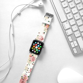 Apple Watch Series 1 , Series 2, Series 3 - Pink Rose Floral pattern Watch Strap Band for Apple Watch / Apple Watch Sport - 38 mm / 42 mm avilable