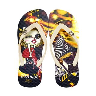 QWQ Creative Design Flip-Flops - Monroe Cat-Black [BST03515]