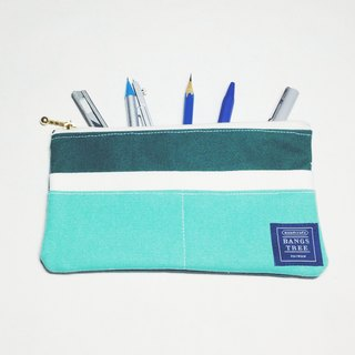 ::Bangstree:: Multifunctional Pencil case- dark green+ white+tiffany green
