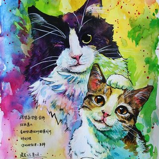Pet watercolor hand-painted portrait 16K size custom