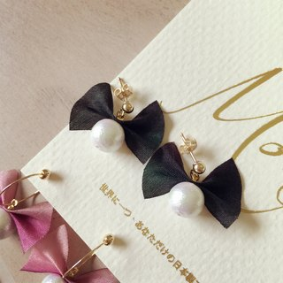 Cotton pearl bow earrings (K14FG ear)