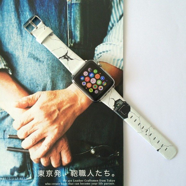 Apple Watch Series 1, Series 2 and Series 3  - 白色爆破圖案Apple Watch 真皮手錶帶38 / 42mm ,100%香港設計及製作 - 74