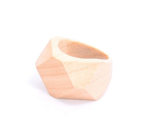 Black&white ebony Diamond shape wood ring
