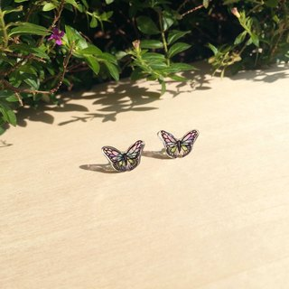 * Haku‧Neko * Colorful hand-painted butterfly earrings