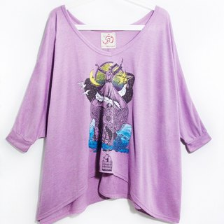 Touch the hem irregular travel T- riding a hot air balloon to travel it! (Purple Rose)
