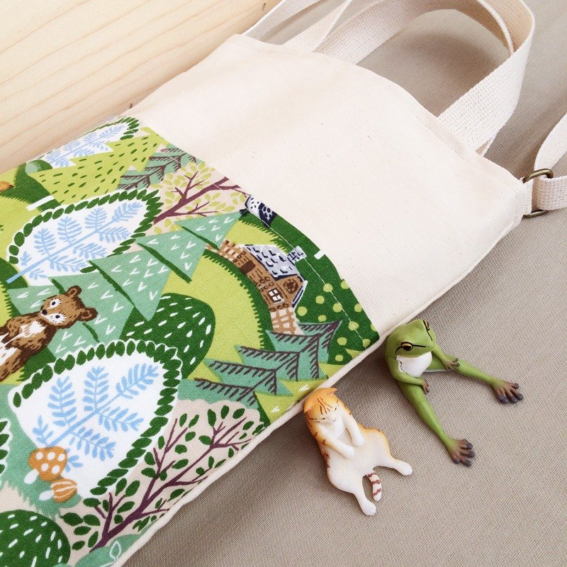 3 ways travel bags - Forest Animals ( Green )