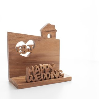 Customized shop gift wood hand made business card holder - teak