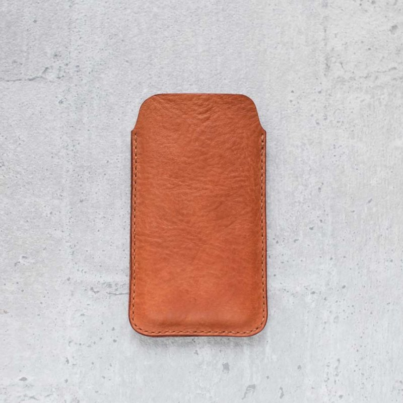 iPhone Plus caramel brown genuine leather sleeve pouch case