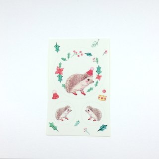 Stickers Christmas hedgehog