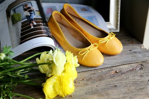 SUD leather ballet shoes Macaron yellow