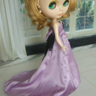 Blyteh gorgeous feast small cloth doll clothes trailing purple beaded evening dress
