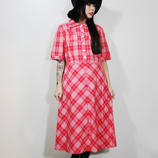 F554 (Vintage) fine white checkered cotton short-sleeved red dress {vintage}