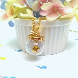 Wishing Star glass bottle necklace ball marshmallows
