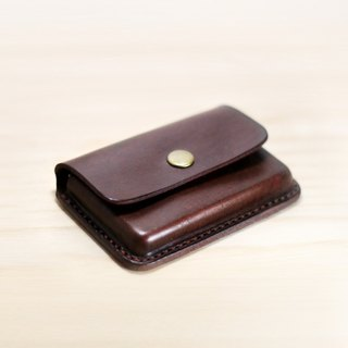 LION's Handmade Leather-- Card Case. Snap button