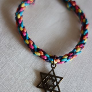 ~ M + Bear ~ Rainbow Star of David bracelet (braided bracelet wax line)