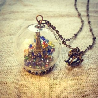 [Imykaka] ♥ crystal ball small ball Trojans Eiffel Tower necklace Valentine