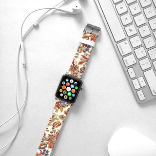 Apple Watch Series 1 , Series 2, Series 3 - Brown Floral Pattern Watch Strap Band for Apple Watch / Apple Watch Sport - 38 mm / 42 mm avilable