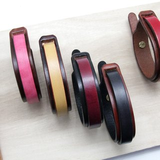 Hand-dyed plain double leather bracelet (narrow version)
