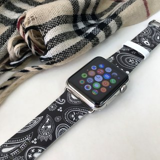 Apple Watch Series 1, Series 2 and Series 3 - Paisley Black Printed on Genuine Leather for Apple Watch Strap Band 38 / 42 mm - 67