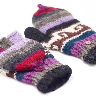 Happy Valentine's Day Limited a knitted pure wool warm gloves / 2ways Gloves / Toe Gloves / Glove bristles - hit color waves totem