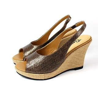 Coffee point │ fish mouth wedge sandals