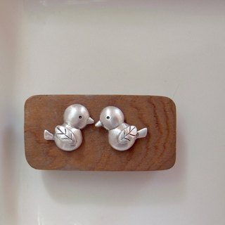 Cute Bird And Leaf--Sterling Silver--Silver Bird--Tiny Bird---Stud Earrings