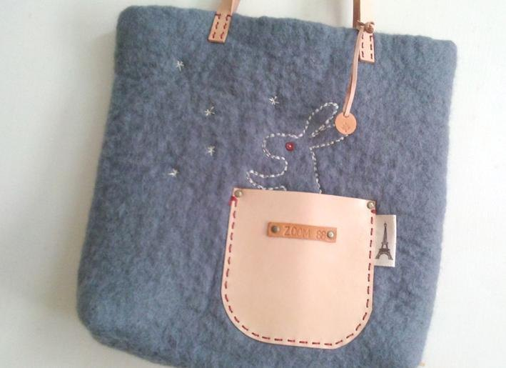 Walking wool felt + Leather bag - Small rabbit Notting / custom made