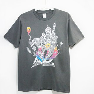 Men Fitted cotton illustration Tee / Travel T - Indian elephant (dark gray)