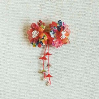 Cherry, double flower, small side clip, hairpin, modeling hair accessories - red