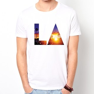 LA-sunset short-sleeved T-shirt - White Los Angeles sunset design own brand triangle photo LOMO