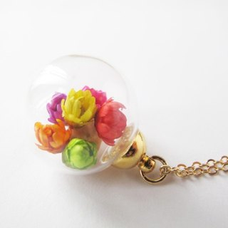 * Rosy Garden * colorful daisies dried flowers glass ball necklace