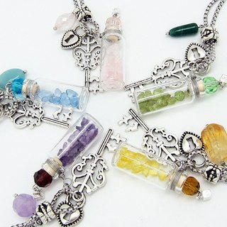 Rock Party Diffuser Necklace Quartz Heart Key Aroma Vial with Oil Dropper