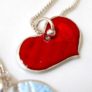 Sweetheart ~ thick you thick ~ Christmas custom enamel burn sterling silver pendant necklace, happiness!