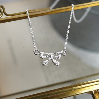 [Jewelry] Jin Xialin ‧ small lace bow necklace - Silver