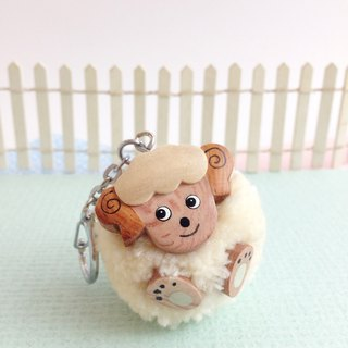 Handmade wooden [x] ♦ wood color Peng Peng yarn winding angle Lamb Keychain / Charm