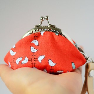 A very small coin purse - birdies - framed case with wristlet