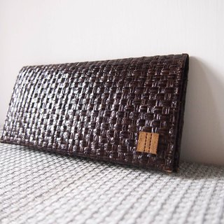 Paralife Custom Handmade Dark Brown Grass Woven Long Wallet /Handbag