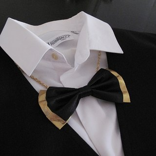 Gorgeous black satin color gold + gentleman tie necklace