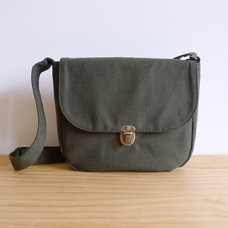 Handmade dark green cotton canvas small cross-body bag