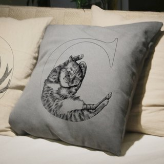 Cat Cat hand-painted letters pillow