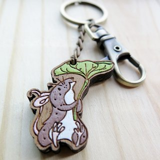 Wooden Keyring The Rat and The Frog