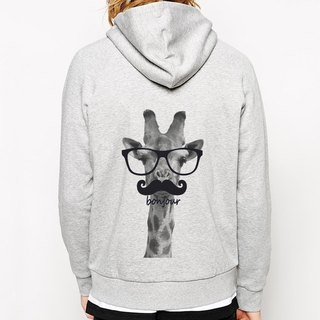 Giraffe-bonjour Zipper Hooded Jacket - Gray Giraffe Hello French Glasses Beard Animal Bunny Art Design Hipster Text Fashion