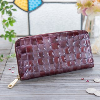 Japanese Manufactured Cowhide Costume Coloring Glassy Dark Purple Red Color made in JAPAN handmade leather wallet