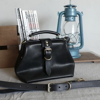 <隆鞄工坊>Classic black 涩 doctor bag (small) / side backpack / handbag / dual-use bag