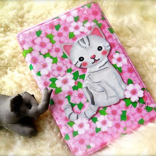 Sigema X Mi-Ae-Hon iPad mini 1/2/3 Book Cover pink embroidered leather cat
