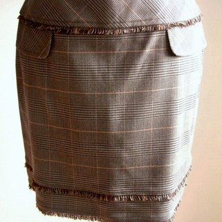 Houndstooth plaid skirt mixed lineage - Brown Orange
