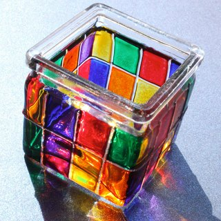 Geometric Rainbow Multi Colored Stained Glass Tea Light Holder・Painted Votive Candle Holder
