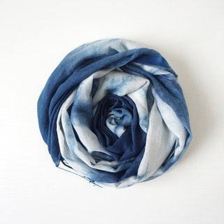 S.A x Ink Painting, Indigo dyed Handmade Abstract Pattern Silk/Cotton Scarf