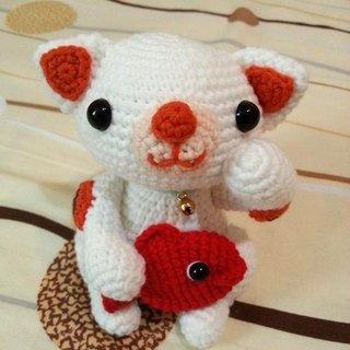 [Knitting] bring happiness Lucky Cat (white cat red goldfish paragraph)